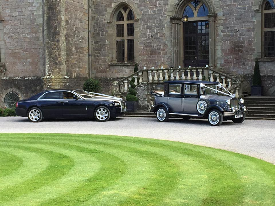Flora the Viscount with Rolls Royce Ghost outside wedding church