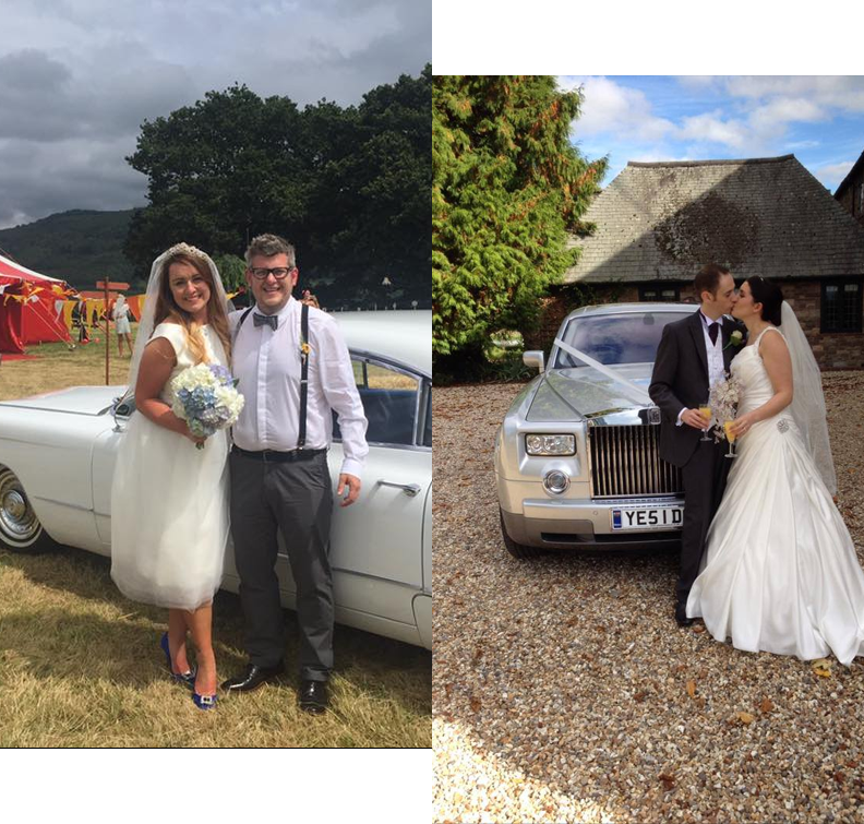 couples on wedding days who have hired luxurious wedding cars