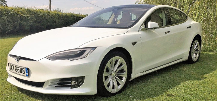 Tesla Model S on grass for display